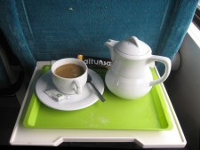 Coffee served in double deck train